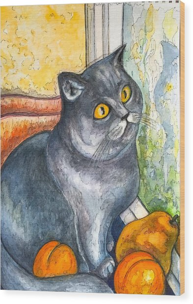 Missy With Fruits Wood Print