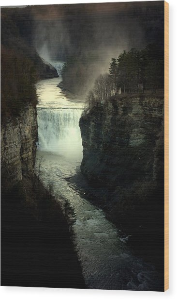 Mist And The Falls Wood Print