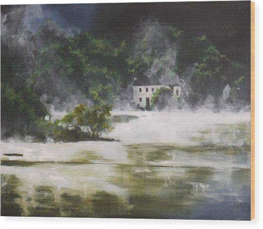 Mist On Derwent Water Wood Print by Jane  Simpson
