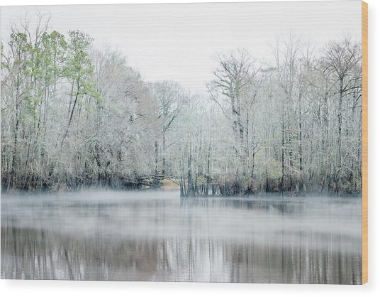 Mist On The River Wood Print