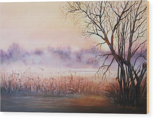 Mist On The River Wood Print