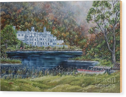 Mist Over Kylemore Abbey Wood Print by Avril Brand