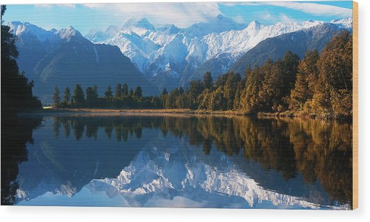 Mist Over Lake Matheson Wood Print