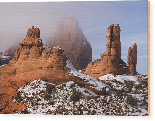 Mist Rising In Arches National Park Wood Print by Douglas Pulsipher