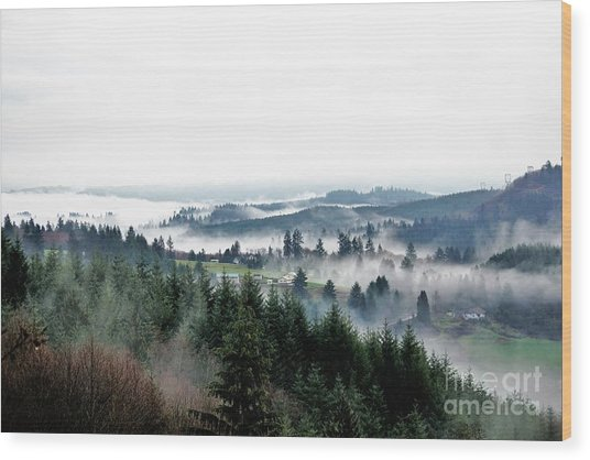 Mist Rising Wood Print