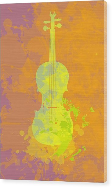 Mist Violin Wood Print