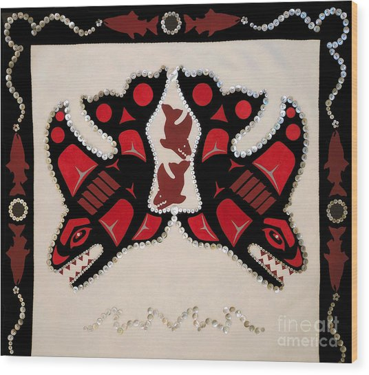 Wood Print featuring the tapestry - textile Mistamekwakii  - Whales - Northern Cree by Chholing Taha