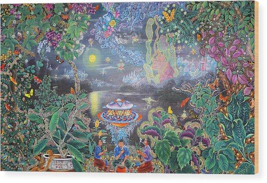 Wood Print featuring the painting Misterio Profundo by Pablo Amaringo