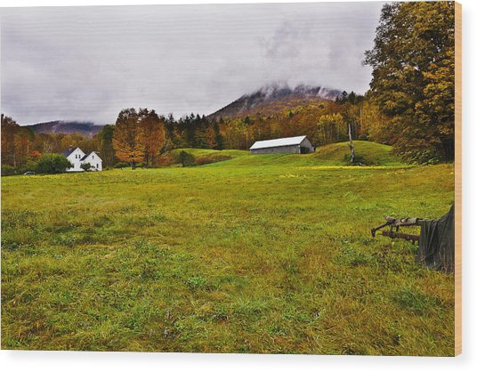 Misty Autumn At The Farm Wood Print