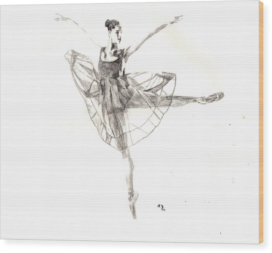 Misty Ballerina Dancer IIi Wood Print