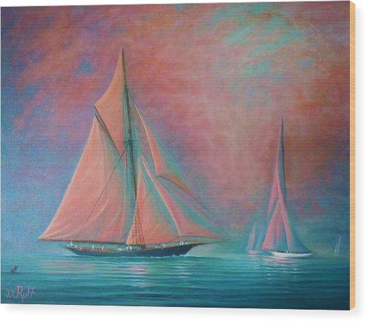Misty Bay Rendevous Wood Print by Joseph   Ruff