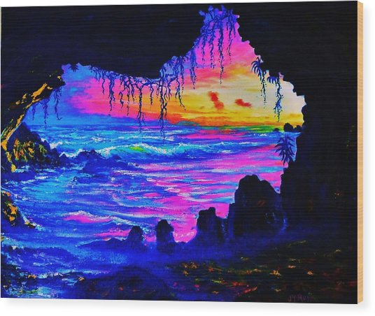 Misty Cave Sunset Wood Print