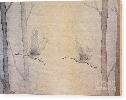Misty Flight Wood Print
