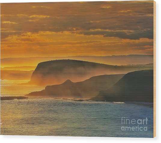 Misty Island Sunset Wood Print