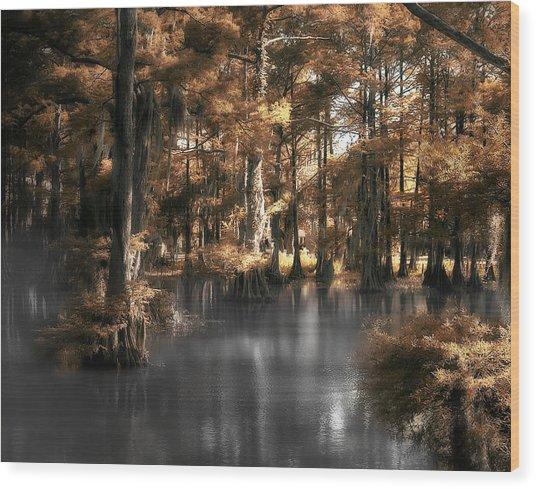 Misty Lake Wood Print by Cecil Fuselier