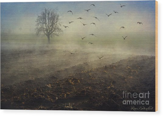 Misty Meadows Wood Print