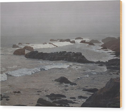 Misty Morning At Ragged Point, California Wood Print