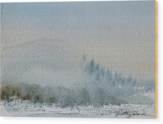 A Misty Morning Wood Print