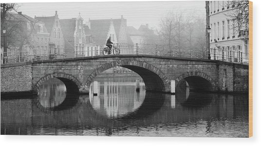 Wood Print featuring the photograph Misty Morning In Bruges  by Barry O Carroll