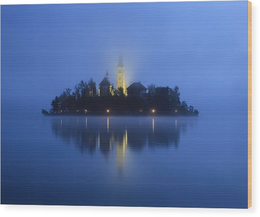 Misty Morning Lake Bled Slovenia Wood Print