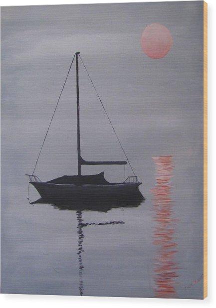 Misty Morning Mooring Wood Print