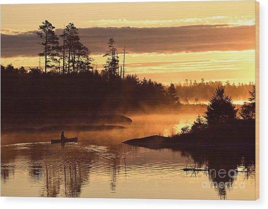 Misty Morning Paddle Wood Print