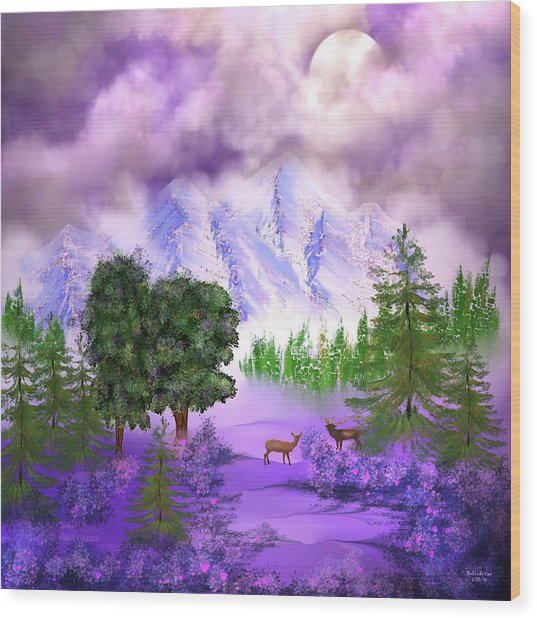 Misty Mountain Deer Wood Print