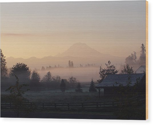 Misty Mt. Rainier Sunrise Wood Print