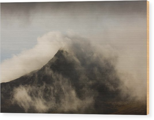 Misty Peak Wood Print