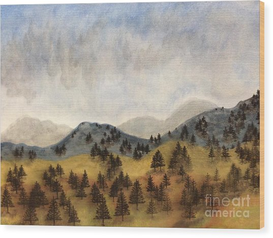 Misty Rain On The Mountain Wood Print