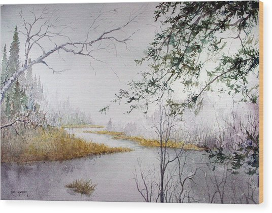 Misty  River Morning Wood Print
