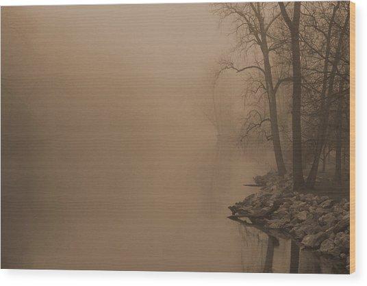 Misty River - Vintage  Wood Print