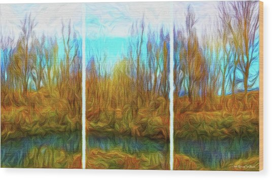 Misty River Vistas - Triptych Wood Print