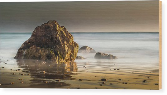 Misty Rock Wood Print