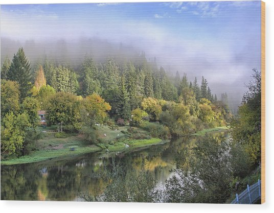 Misty Russian River Wood Print