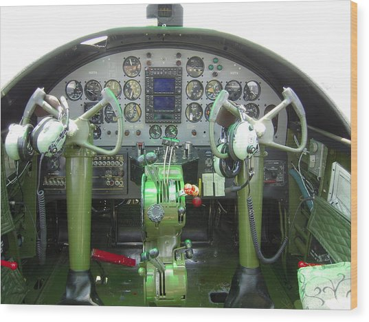 Mitchell B-25 Bomber Cockpit Wood Print
