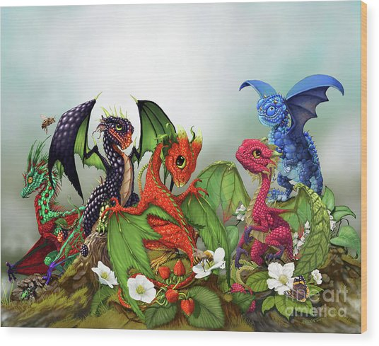 Mixed Berries Dragons Wood Print