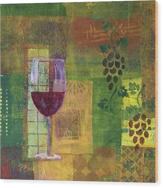 Mixed Media Painting Wine Wood Print