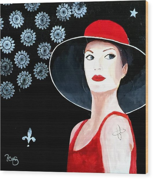 Mixed Media Painting Woman Red Hat Wood Print