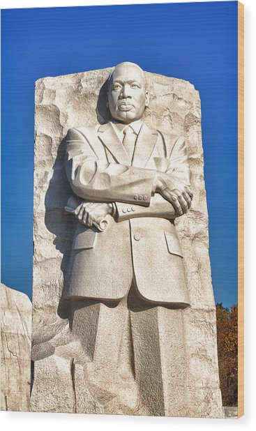 Mlk Memorial In Color Wood Print