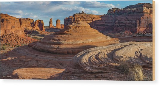 Moab Back Country Panorama 2 Wood Print