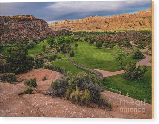 Moab Desert Canyon Golf Course At Sunrise Wood Print