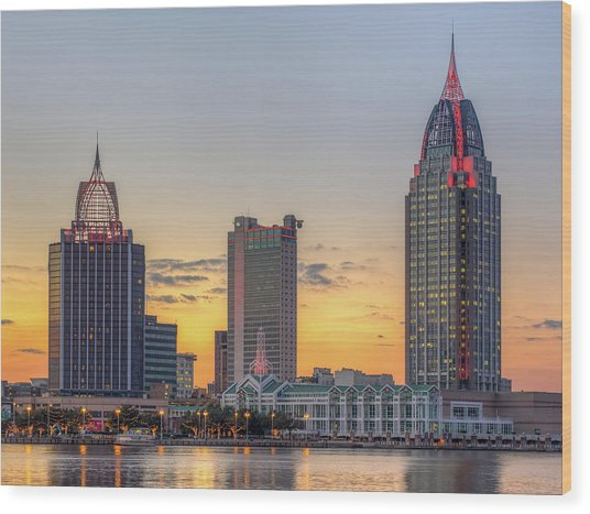 Mobile Skyline At Sunset Wood Print