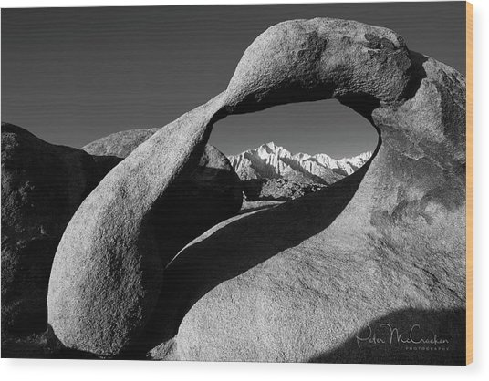 Mobius Arch Black And White Wood Print by Peter McCracken