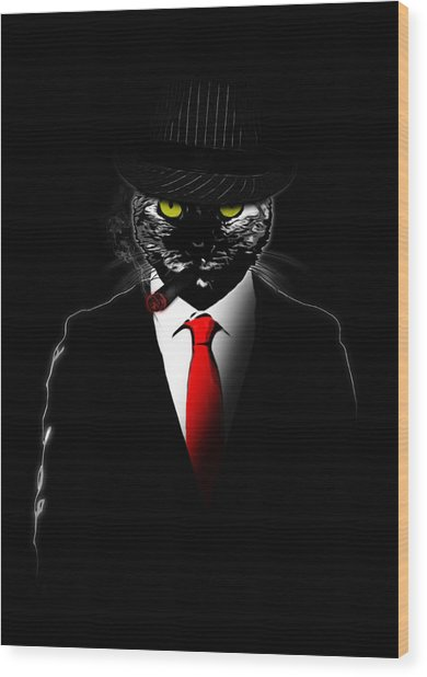 Mobster Cat Wood Print