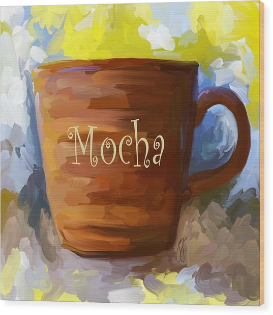 Mocha Coffee Cup Wood Print