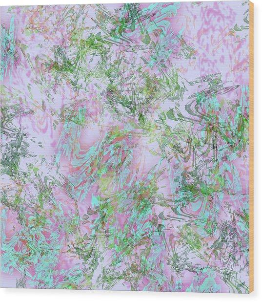 Mock Floral Purple Teal Wood Print