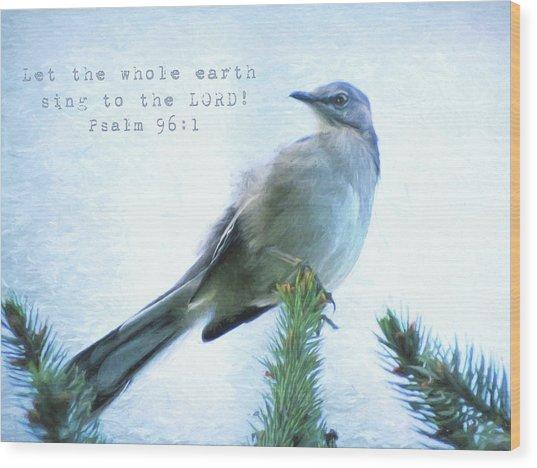 Mockingbird Scripture Wood Print