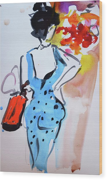 Model With Flowers And Red Handbag Wood Print