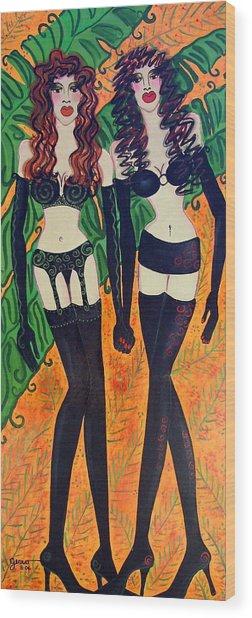 Models In Black Lingerie  Wood Print by Helen Gerro